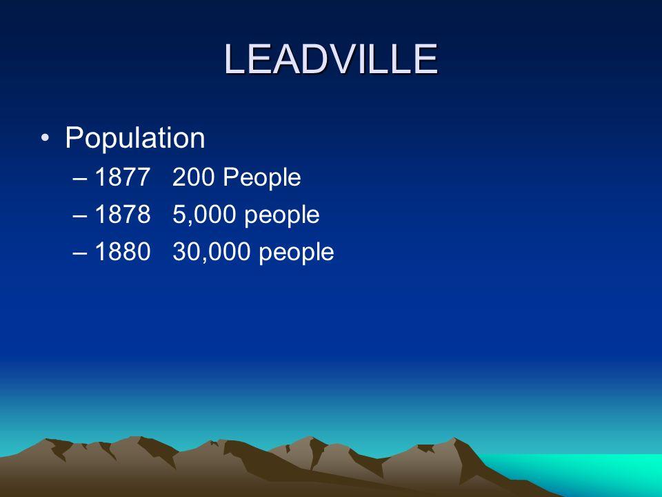 LEADVILLE Population –1877200 People –18785,000 people –188030,000 people
