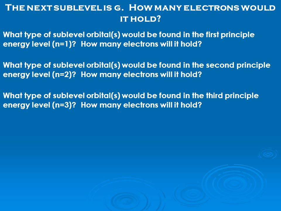 What type of sublevel orbital(s) would be found in the first principle energy level (n=1).