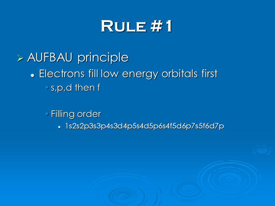 Rule #1 AUFBAU principle AUFBAU principle Electrons fill low energy orbitals first Electrons fill low energy orbitals first s,p,d then fs,p,d then f Filling orderFilling order 1s2s2p3s3p4s3d4p5s4d5p6s4f5d6p7s5f6d7p 1s2s2p3s3p4s3d4p5s4d5p6s4f5d6p7s5f6d7p