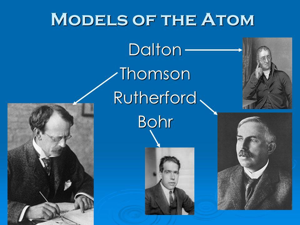 Models of the Atom DaltonThomsonRutherfordBohr