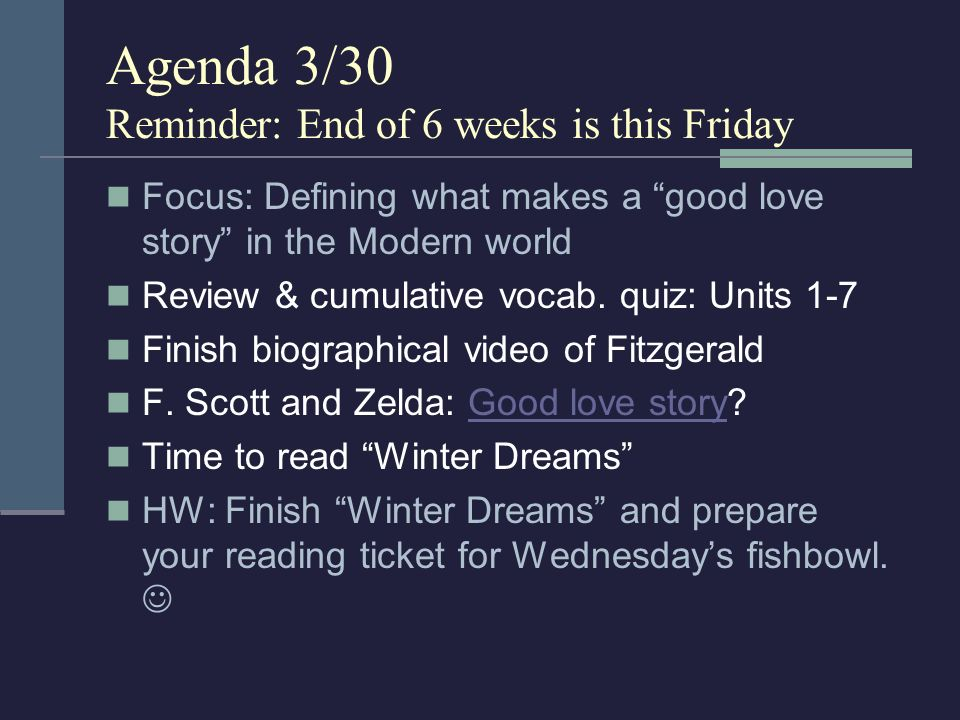 Agenda 3/19 Focus: Partying in the world of Gatsby SAT word of the day.