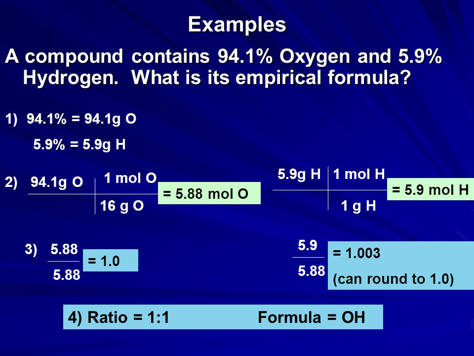 Examples A compound contains 94.1% Oxygen and 5.9% Hydrogen. What is its empirical formula? 1) 94.1% = 94.1g O 5.9% = 5.9g H 2) 94.1g O 16 g O 1 mol O