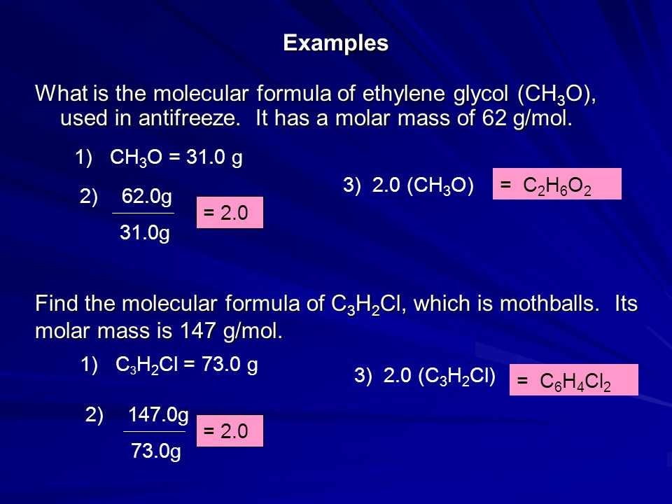 Examples What is the molecular formula of ethylene glycol (CH 3 O), used in antifreeze. It has a molar mass of 62 g/mol. 1) CH 3 O = 31.0 g 2) 62.0g 3