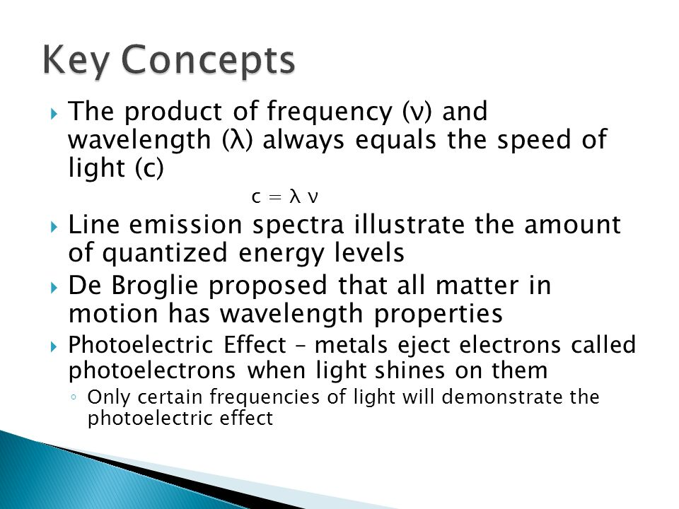 The product of frequency (ν) and wavelength (λ) always equals the speed of light (c) c = λ ν Line emission spectra illustrate the amount of quantized