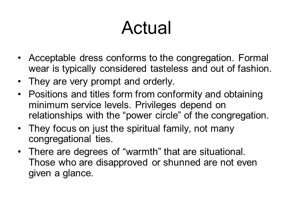 Actual Acceptable dress conforms to the congregation.