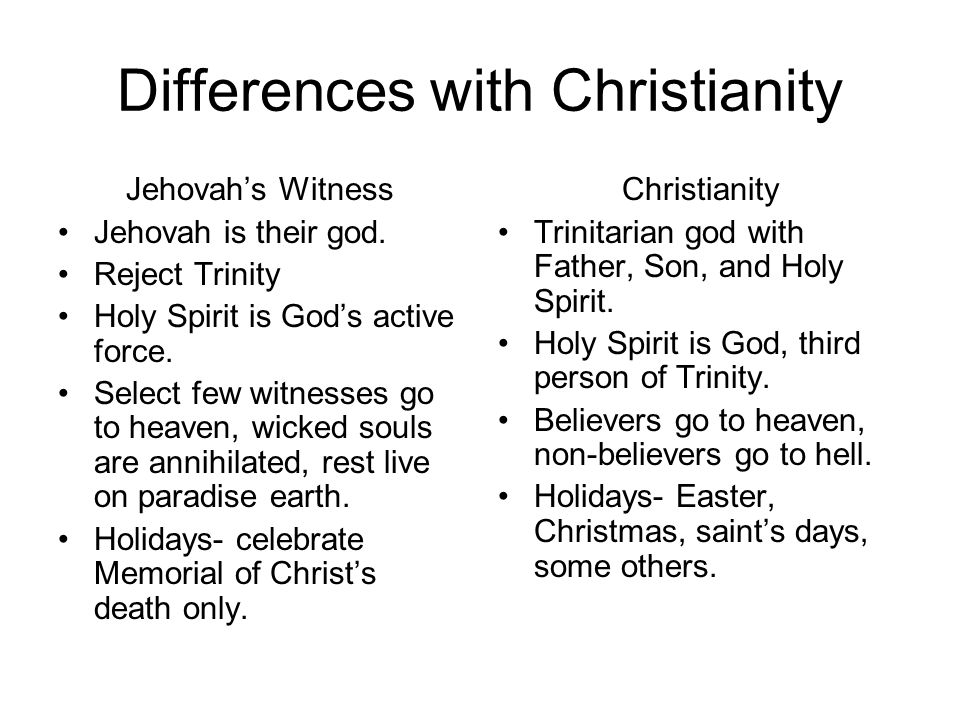 Differences with Christianity Jehovahs Witness Jehovah is their god.