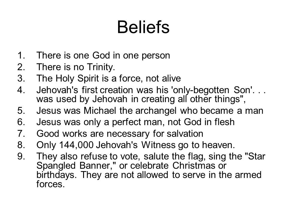 Beliefs 1.There is one God in one person 2.There is no Trinity.