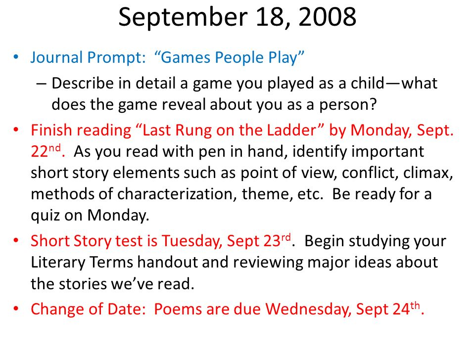 October 7, 2008 Please answer questions 1-3 on the Readers Log #2 Handout.