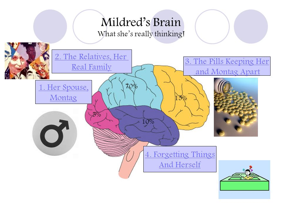 Mildreds Brain What shes really thinking! 70% 15% 10% 5% 3. The Pills Keeping Her and Montag Apart 2. The Relatives, Her Real Family 1. Her Spouse, Mo