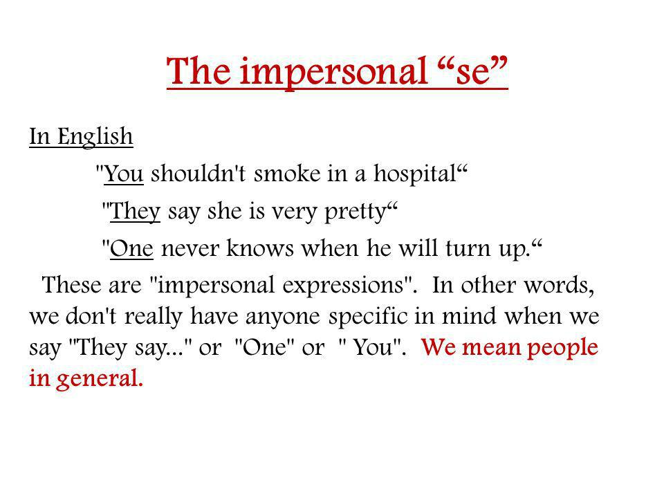 The impersonal se In English
