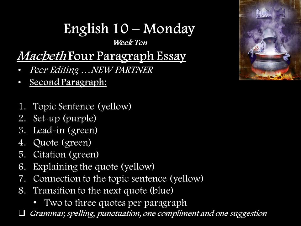 Macbeth Four Paragraph Essay Peer Editing …NEW PARTNER Conclusion Paragraph: A.Re-state thesis (yellow) B.Main points (blue) C.Hit it home (purple) Grammar, spelling, punctuation, one compliment and one suggestion English 10 – Monday Week Ten