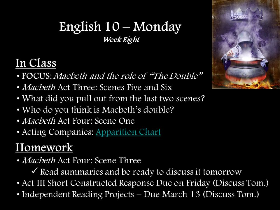 In Class FOCUS: Macbeth and the role of The Double Independent Reading Project Ideas – 80+ Options The name game … in Macbeth Overview of Act III Quiz – Short Constructed Response Acting Companies: Apparition Chart (Five minutes)Apparition Chart Macbeth Act Four: Scenes Two and Three Watch the film version – 4 UK English 10 – Tuesday Week Eight Homework Act III Short Constructed Response Due on Friday Independent Reading Projects – Due March 13 th No vocabulary quiz this week.