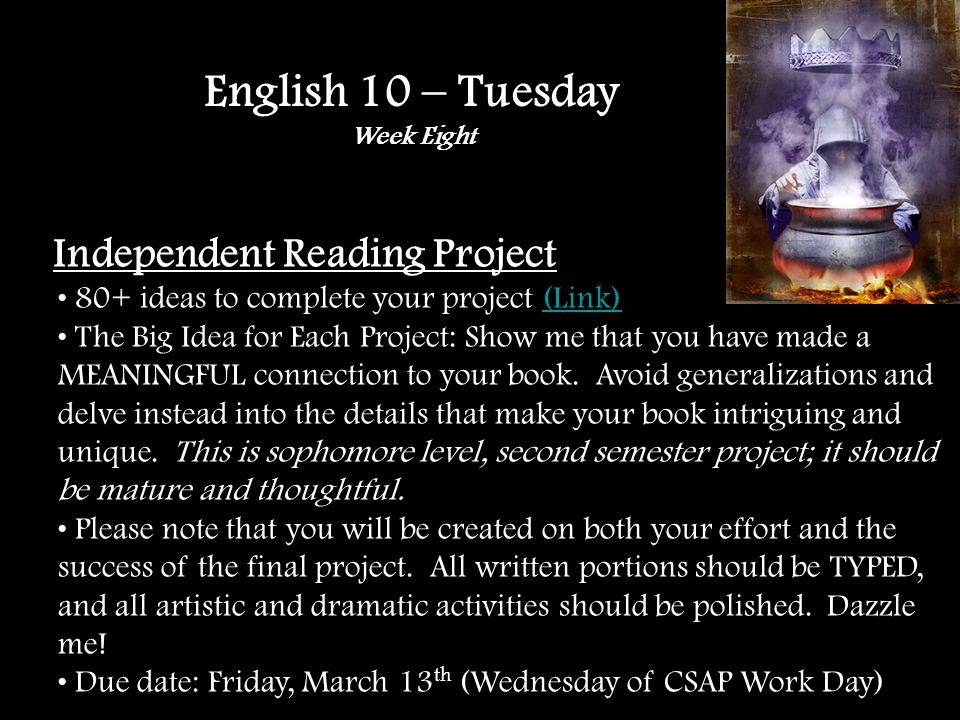 Independent Reading Project 80+ ideas to complete your project (Link)(Link) The Big Idea for Each Project: Show me that you have made a MEANINGFUL connection to your book.