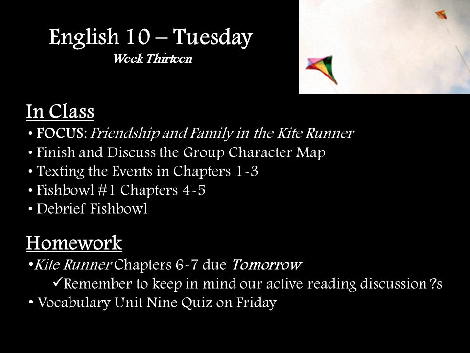 English 10 – Tuesday Week Thirteen In Class FOCUS: Friendship and Family in the Kite Runner Finish and Discuss the Group Character Map Texting the Events in Chapters 1-3 Fishbowl #1 Chapters 4-5 Debrief Fishbowl Homework Kite Runner Chapters 6-7 due Tomorrow Remember to keep in mind our active reading discussion ?s Vocabulary Unit Nine Quiz on Friday