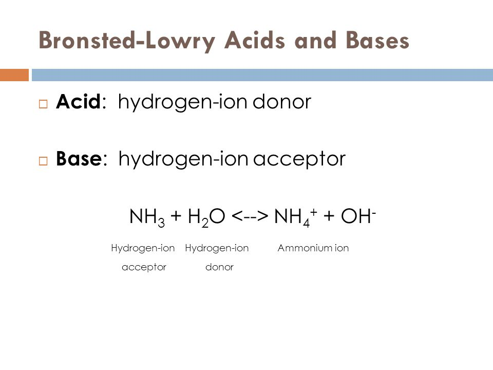 Bronsted-Lowry Acids and Bases Acid : hydrogen-ion donor Base : hydrogen-ion acceptor NH 3 + H 2 O NH 4 + + OH - Hydrogen-ion Hydrogen-ion Ammonium io