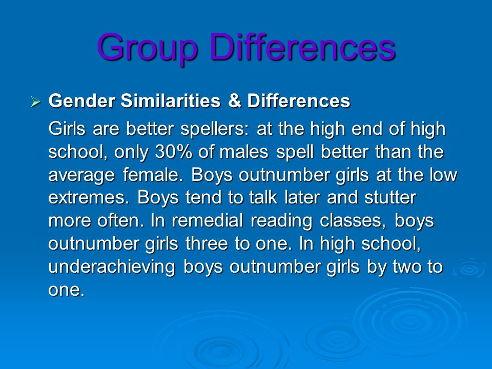 Group Differences Gender Similarities & Differences Gender Similarities & Differences Girls are better spellers: at the high end of high school, only