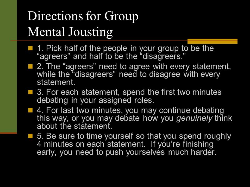 Directions for Group Mental Jousting 1.