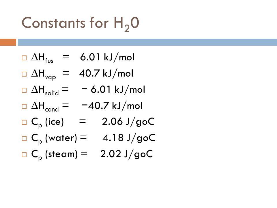 Constants for H 2 0 H fus = 6.01 kJ/mol H vap = 40.7 kJ/mol H solid = 6.01 kJ/mol H cond = 40.7 kJ/mol C p (ice) = 2.06 J/goC C p (water) = 4.18 J/goC