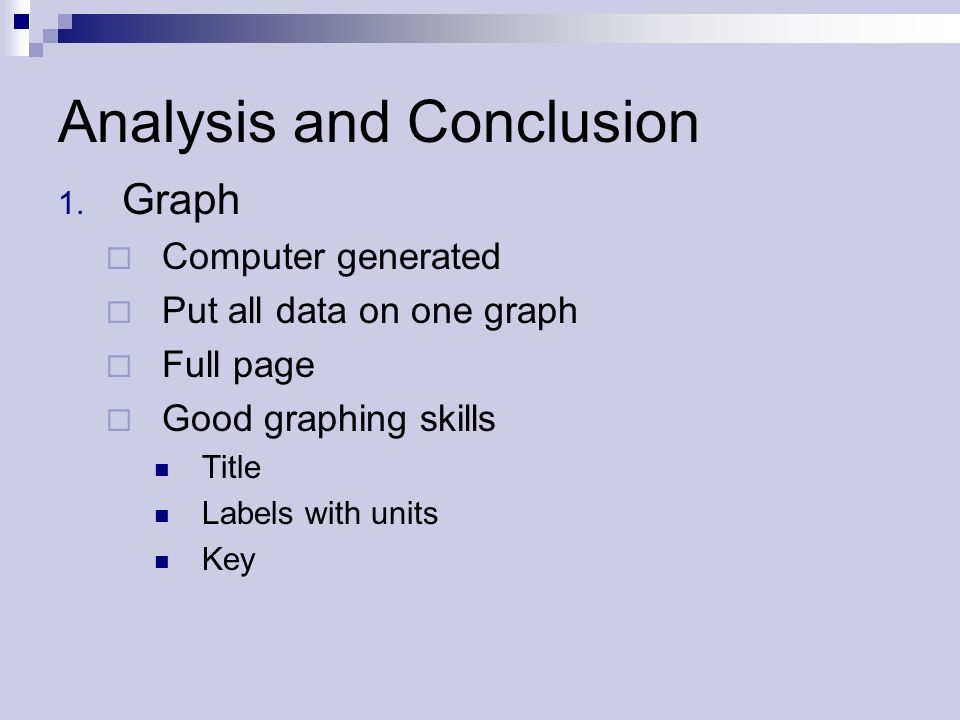 Analysis and Conclusion 1.