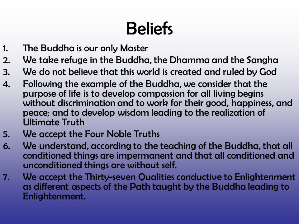 Beliefs 1.The Buddha is our only Master 2.We take refuge in the Buddha, the Dhamma and the Sangha 3.We do not believe that this world is created and r
