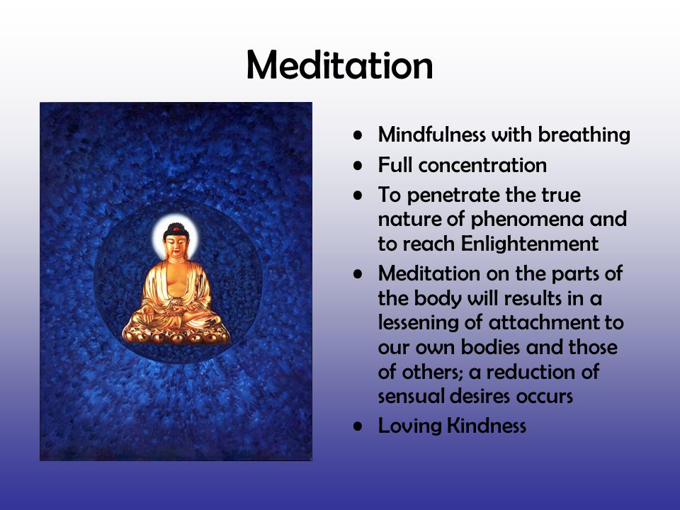 Meditation Mindfulness with breathing Full concentration To penetrate the true nature of phenomena and to reach Enlightenment Meditation on the parts