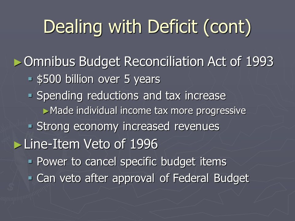 Dealing with Deficit (cont) Omnibus Budget Reconciliation Act of 1993 Omnibus Budget Reconciliation Act of 1993 $500 billion over 5 years $500 billion over 5 years Spending reductions and tax increase Spending reductions and tax increase Made individual income tax more progressive Made individual income tax more progressive Strong economy increased revenues Strong economy increased revenues Line-Item Veto of 1996 Line-Item Veto of 1996 Power to cancel specific budget items Power to cancel specific budget items Can veto after approval of Federal Budget Can veto after approval of Federal Budget