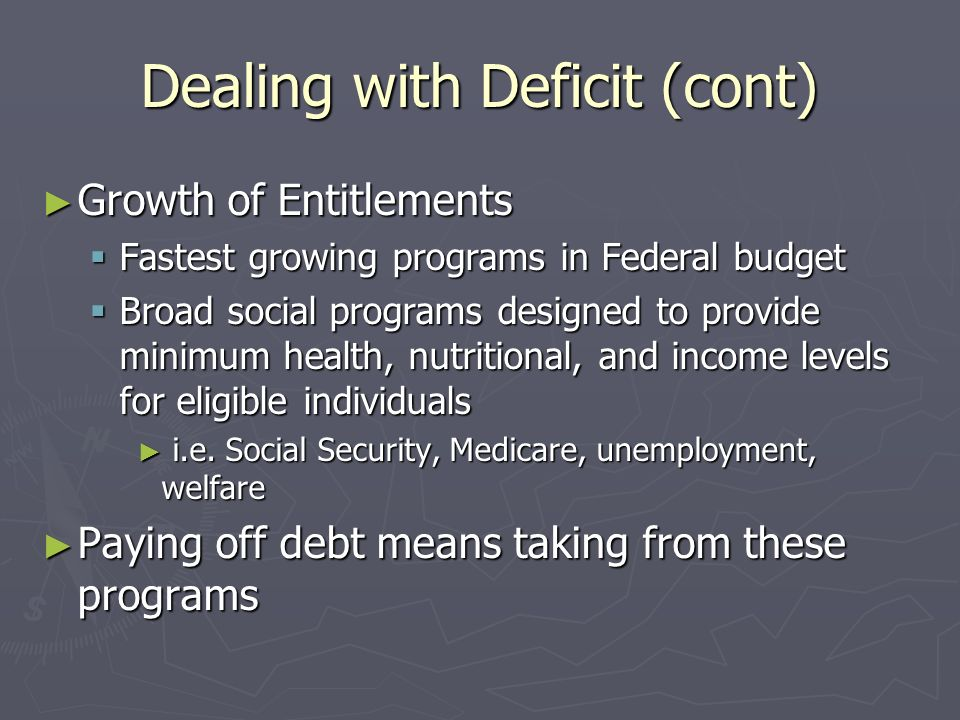 Dealing with Deficit (cont) Growth of Entitlements Growth of Entitlements Fastest growing programs in Federal budget Fastest growing programs in Federal budget Broad social programs designed to provide minimum health, nutritional, and income levels for eligible individuals Broad social programs designed to provide minimum health, nutritional, and income levels for eligible individuals i.e.