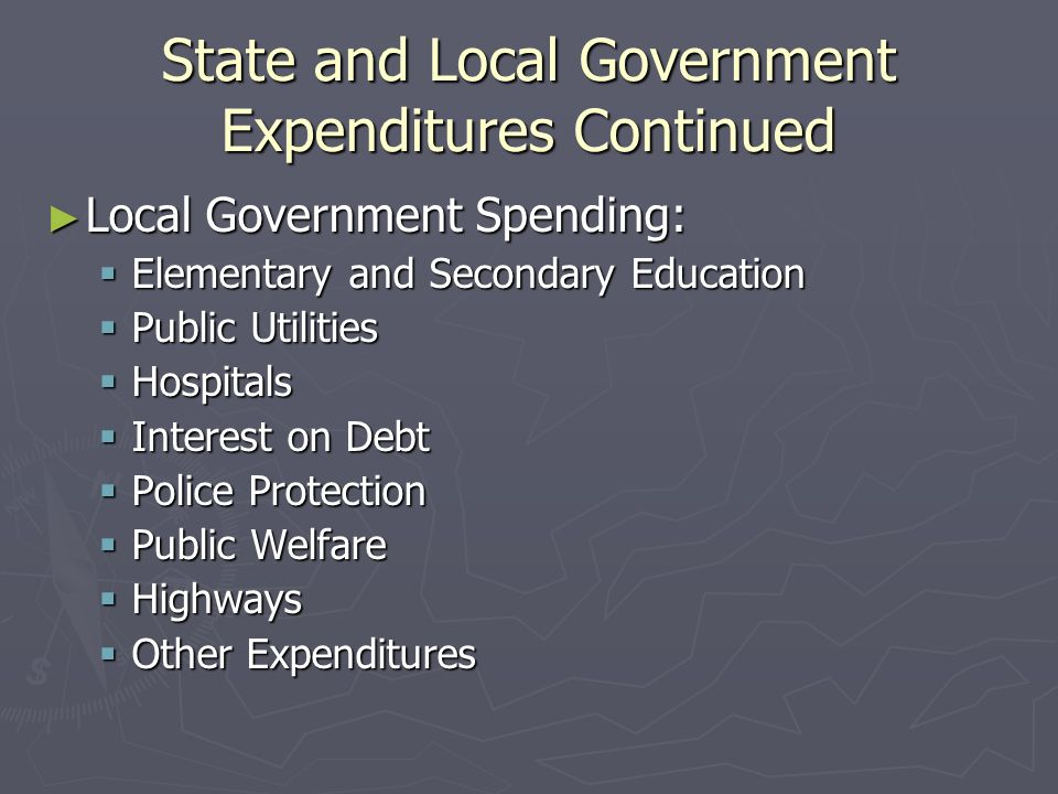 State and Local Government Expenditures Continued Local Government Spending: Local Government Spending: Elementary and Secondary Education Elementary and Secondary Education Public Utilities Public Utilities Hospitals Hospitals Interest on Debt Interest on Debt Police Protection Police Protection Public Welfare Public Welfare Highways Highways Other Expenditures Other Expenditures