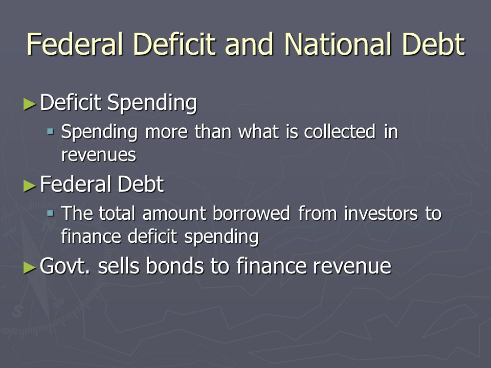 Federal Deficit and National Debt Deficit Spending Deficit Spending Spending more than what is collected in revenues Spending more than what is collected in revenues Federal Debt Federal Debt The total amount borrowed from investors to finance deficit spending The total amount borrowed from investors to finance deficit spending Govt.