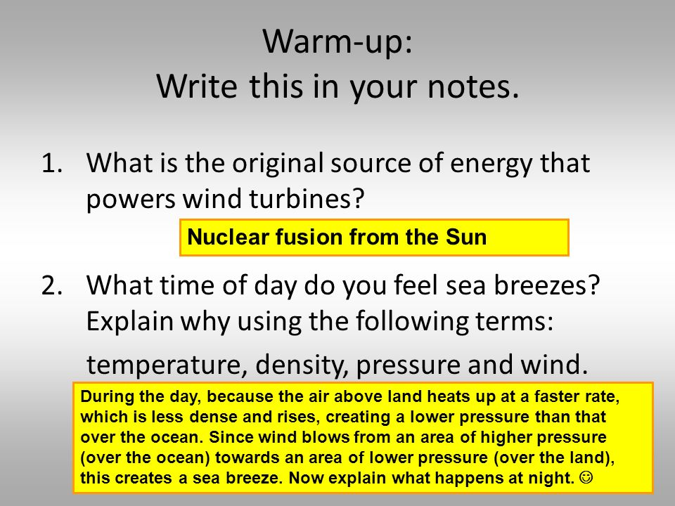 Warm-up: Write this in your notes.