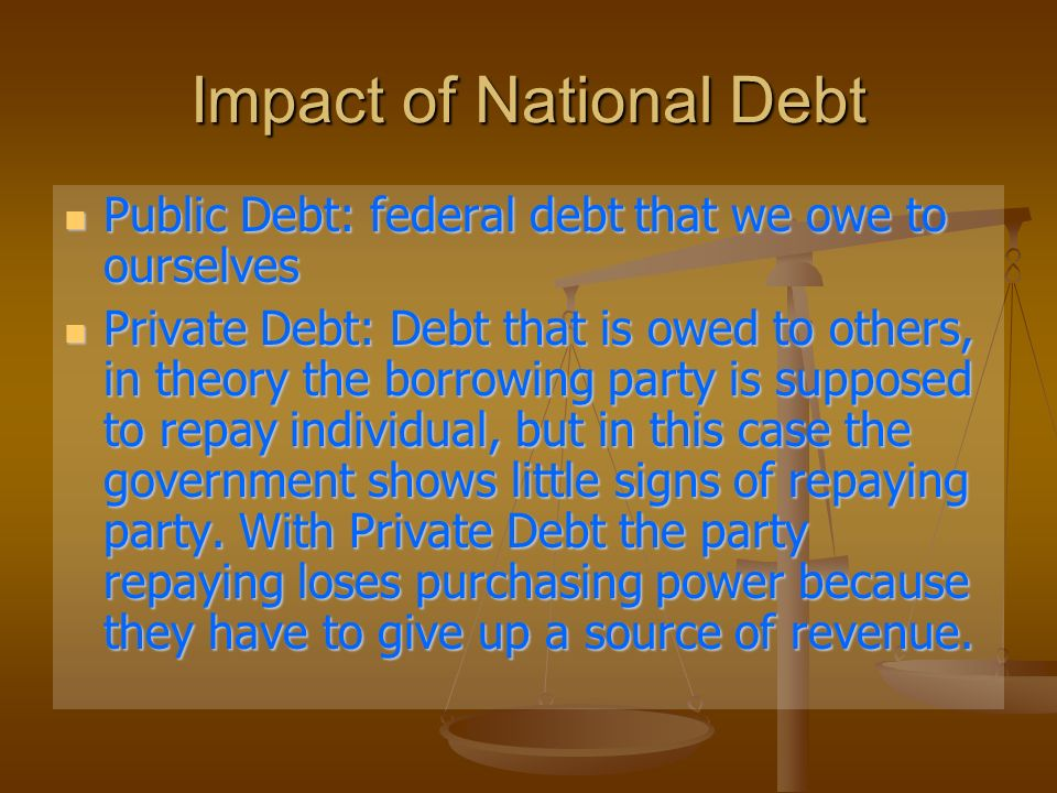 Impact of National Debt Public Debt: federal debt that we owe to ourselves Public Debt: federal debt that we owe to ourselves Private Debt: Debt that is owed to others, in theory the borrowing party is supposed to repay individual, but in this case the government shows little signs of repaying party.