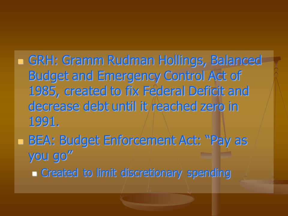 GRH: Gramm Rudman Hollings, Balanced Budget and Emergency Control Act of 1985, created to fix Federal Deficit and decrease debt until it reached zero in 1991.