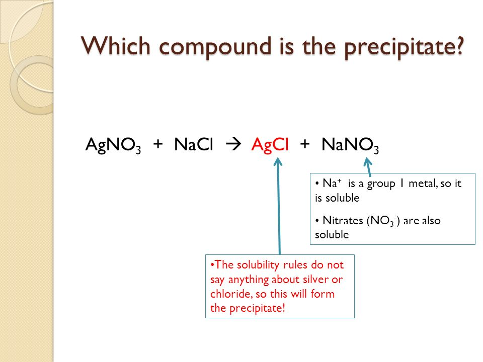 Which compound is the precipitate? AgNO 3 + NaCl AgCl + NaNO 3 Na + is a group 1 metal, so it is soluble Nitrates (NO 3 - ) are also soluble The solub