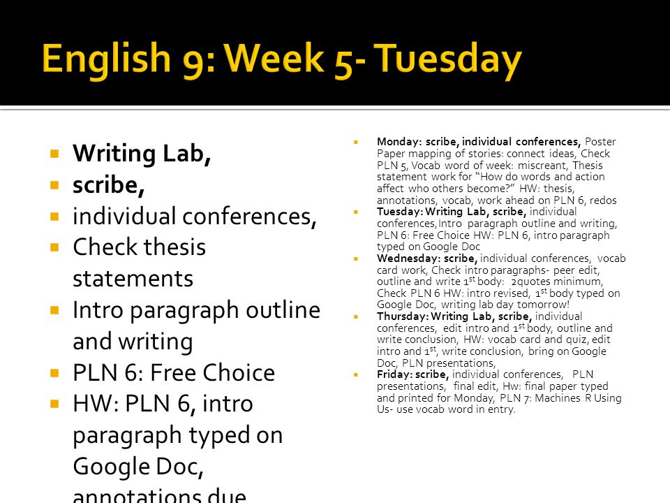 Writing Lab, scribe, individual conferences, Check thesis statements Intro paragraph outline and writing PLN 6: Free Choice HW: PLN 6, intro paragraph
