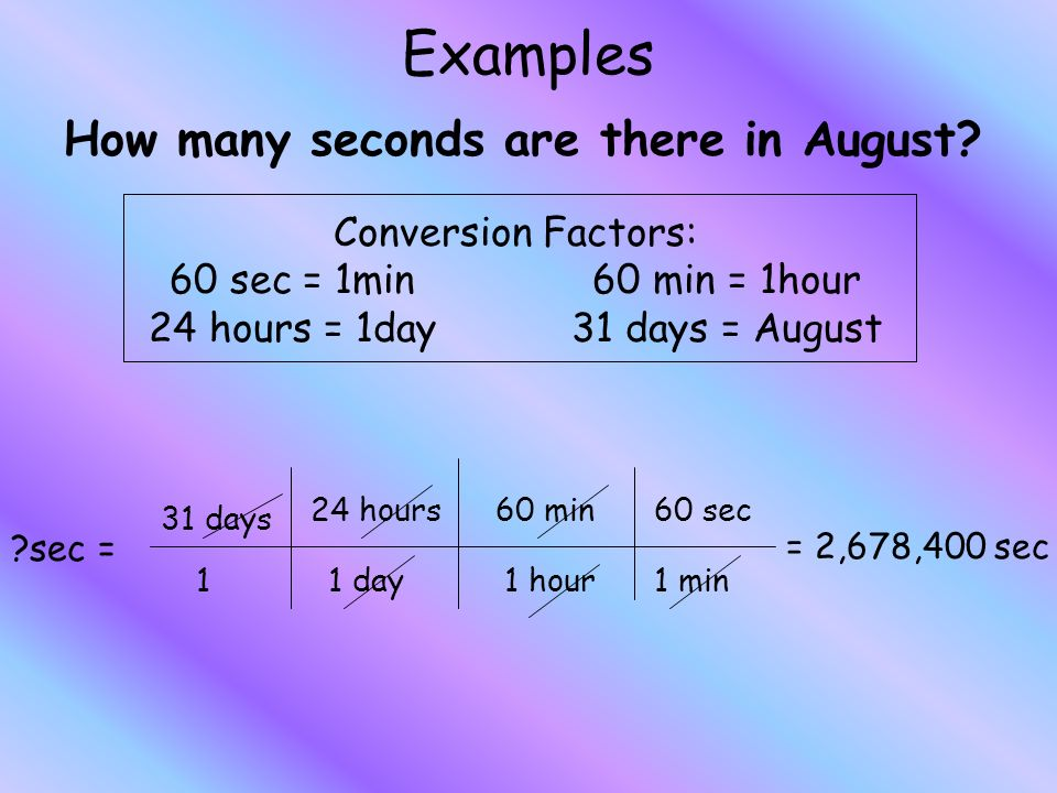 Examples How many seconds are there in August.
