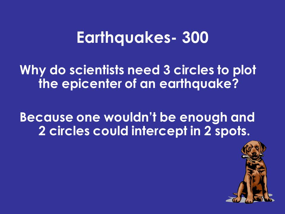 Earthquakes- 300 Why do scientists need 3 circles to plot the epicenter of an earthquake.