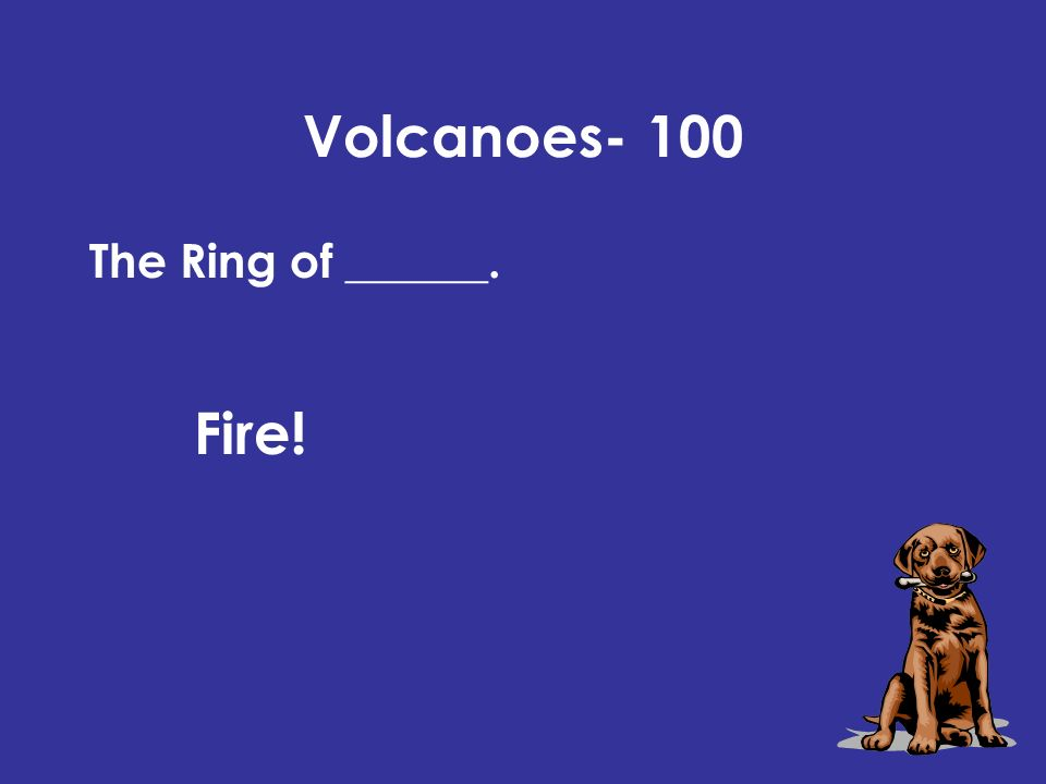 Volcanoes- 100 Fire! The Ring of ______.