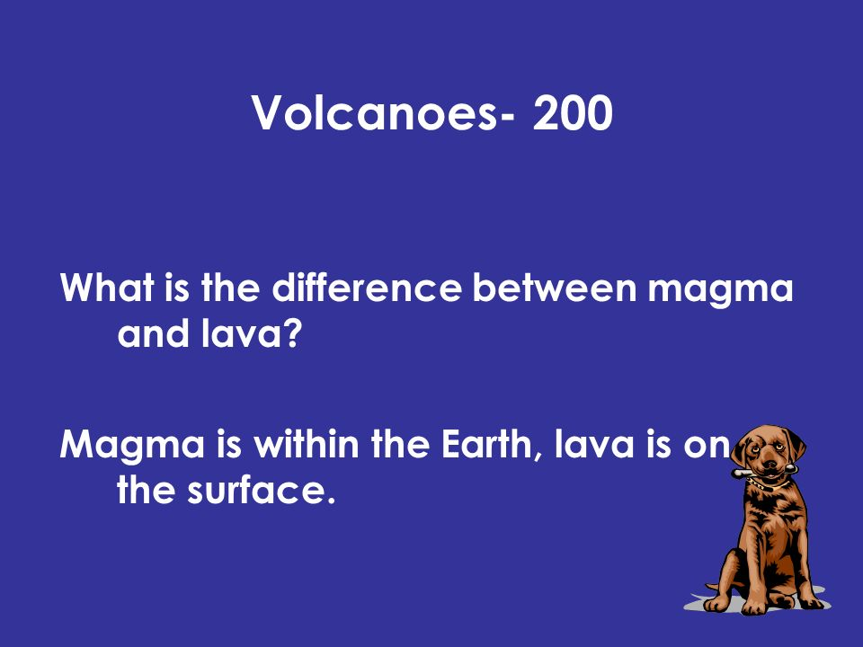 Volcanoes- 200 What is the difference between magma and lava.