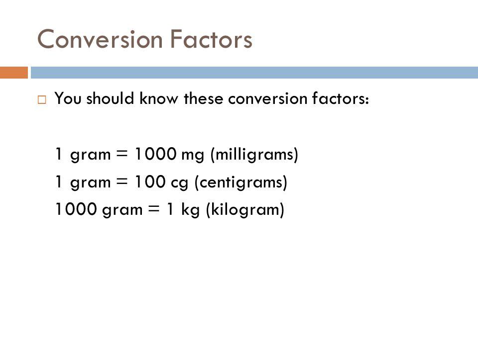 Conversion Factors You should know these conversion factors: 1 gram = 1000 mg (milligrams) 1 gram = 100 cg (centigrams) 1000 gram = 1 kg (kilogram)