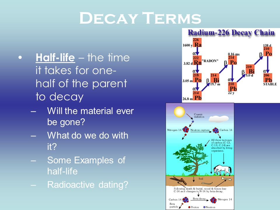 Decay Terms Half-life – the time it takes for one- half of the parent to decay –Will the material ever be gone? –What do we do with it? –Some Examples