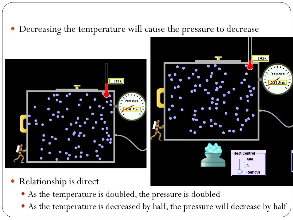 Decreasing the temperature will cause the pressure to decrease Relationship is direct As the temperature is doubled, the pressure is doubled As the te