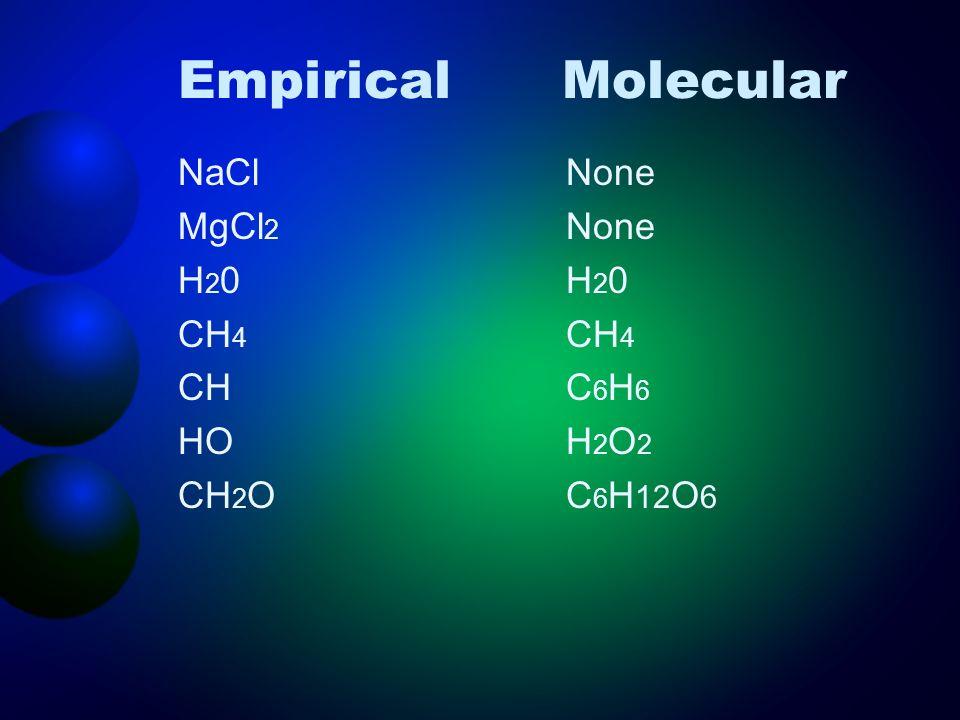 EmpiricalMolecular NaCl MgCl 2 H 2 0 CH 4 CH HO CH 2 O None H 2 0 CH 4 C 6 H 6 H 2 O 2 C 6 H 12 O 6