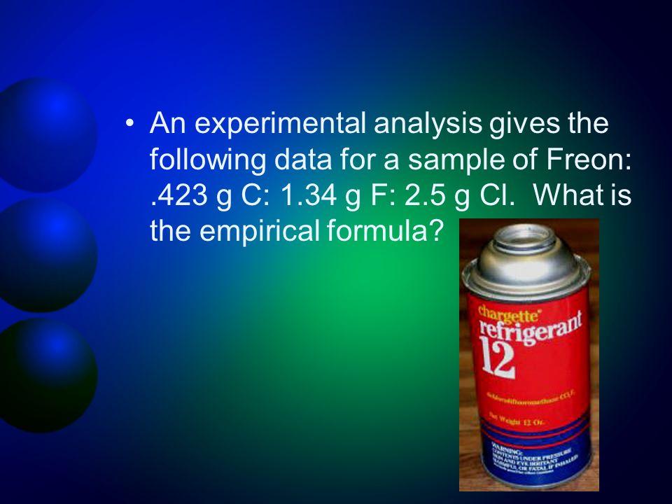 An experimental analysis gives the following data for a sample of Freon:.423 g C: 1.34 g F: 2.5 g Cl. What is the empirical formula?