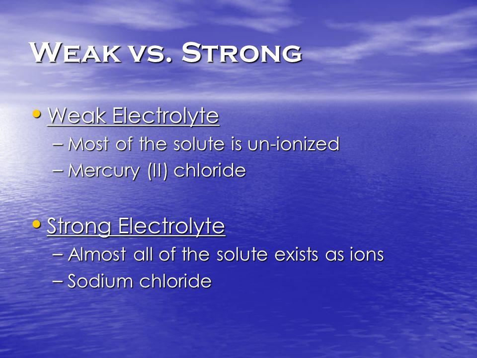 Weak vs. Strong Weak Electrolyte Weak Electrolyte – Most of the solute is un-ionized – Mercury (II) chloride Strong Electrolyte Strong Electrolyte – A