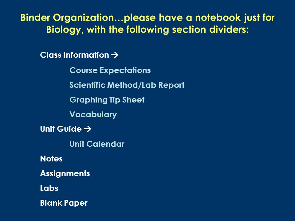Binder Organization…please have a notebook just for Biology, with the following section dividers: Class Information Course Expectations Scientific Method/Lab Report Graphing Tip Sheet Vocabulary Unit Guide Unit Calendar Notes Assignments Labs Blank Paper