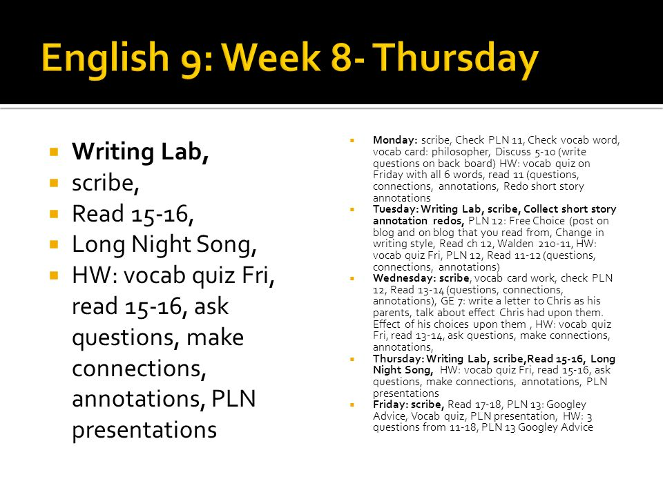 Writing Lab, scribe, Read 15-16, Long Night Song, HW: vocab quiz Fri, read 15-16, ask questions, make connections, annotations, PLN presentations Monday: scribe, Check PLN 11, Check vocab word, vocab card: philosopher, Discuss 5-10 (write questions on back board) HW: vocab quiz on Friday with all 6 words, read 11 (questions, connections, annotations, Redo short story annotations Tuesday: Writing Lab, scribe, Collect short story annotation redos, PLN 12: Free Choice (post on blog and on blog that you read from, Change in writing style, Read ch 12, Walden 210-11, HW: vocab quiz Fri, PLN 12, Read 11-12 (questions, connections, annotations) Wednesday: scribe, vocab card work, check PLN 12, Read 13-14 (questions, connections, annotations), GE 7: write a letter to Chris as his parents, talk about effect Chris had upon them.