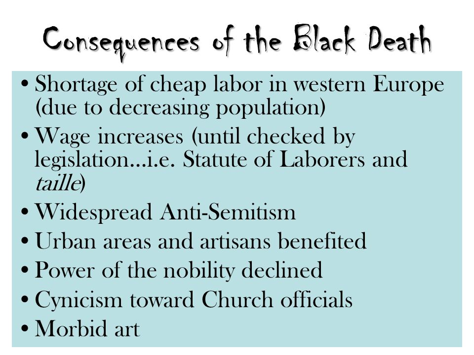 Consequences of the Black Death Shortage of cheap labor in western Europe (due to decreasing population) Wage increases (until checked by legislation…