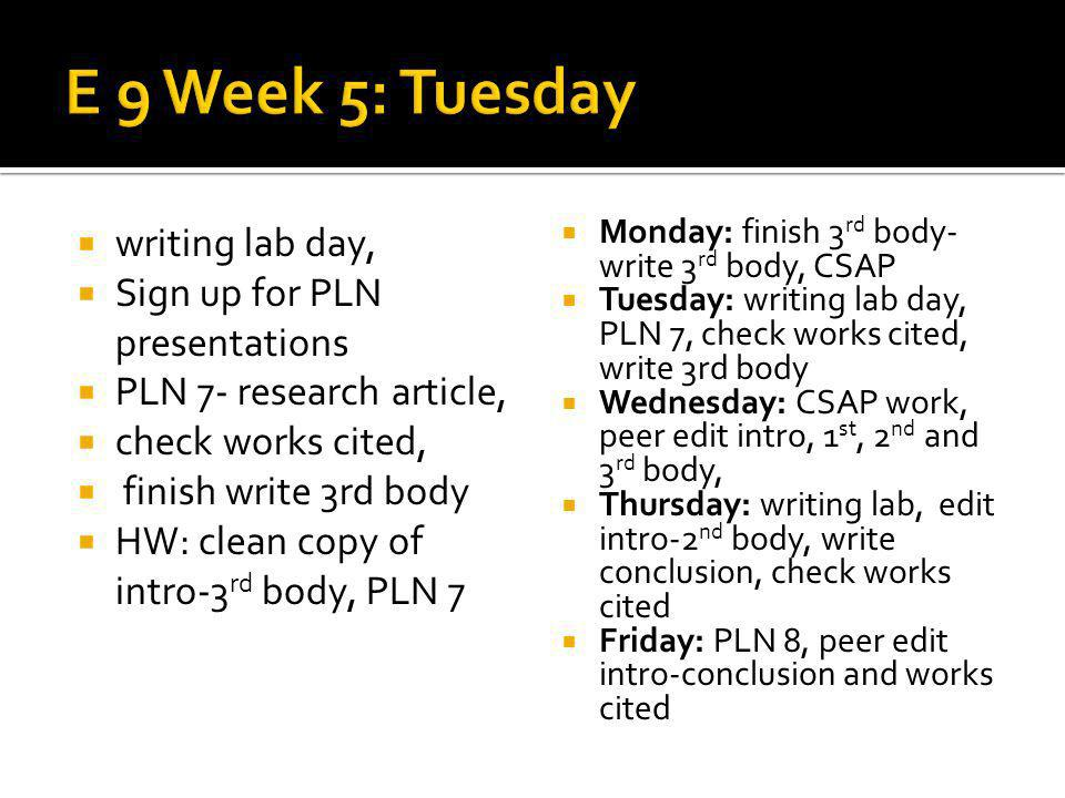 writing lab day, Sign up for PLN presentations PLN 7- research article, check works cited, finish write 3rd body HW: clean copy of intro-3 rd body, PL