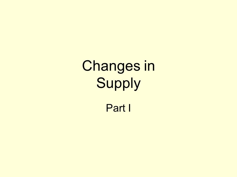 Changes in Supply Part I
