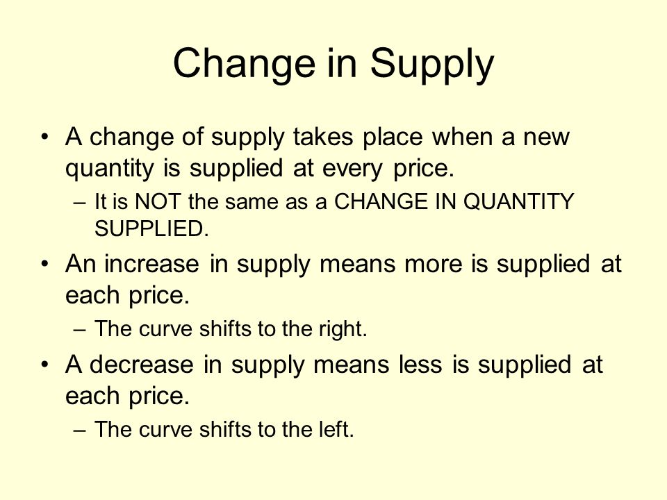 Change in Supply A change of supply takes place when a new quantity is supplied at every price. –It is NOT the same as a CHANGE IN QUANTITY SUPPLIED.